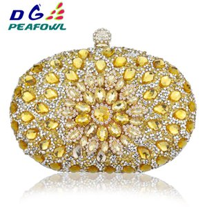 Wholesale wedding handbags green blue for sale - Group buy Luxury Clutch Chain Bag Woman Wedding Diamond Crystal Floral Blue Red Sling Designer Purse Cell Phone Pocket Wallet Handbags C1223