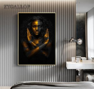 Wholesale african modern abstract art paintings for sale - Group buy For Woman Painting Modern Room Art Black Home Paintings Pictures Gold Wall Posters Cuadro Living Decoration Woman African Canvas bbyoY