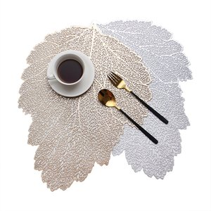 Wholesale coffee table decor for sale - Group buy Placemat for Dining Table Coasters Leaf Simulation Plant PVC Cup Coffee Table Mats Hollow Out Kitchen Christmas Home Decor Gifts RRA3857