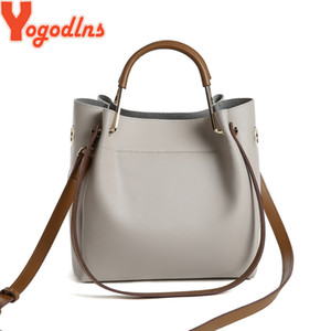 Wholesale simple leather shoulder bag for sale - Group buy Yogodlns Simple Style Women Bucket PU Leather Shoulder Designer Ladies Crossbody Messenger Bag Female purse Q1118