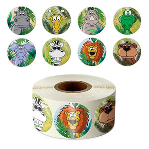 Wholesale zoo animals for sale - Group buy 500pcs roll Zoo Animals cartoon Stickers for kids classic toys sticker school teacher reward sticker designs pattern