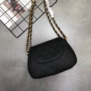 дизайнер женских сумок  оптовых-Кожаная цепь Cross Pack Diamond Check Messenger Vintage Women s Baskbag Designer Black Bag Bag Bag Q1127