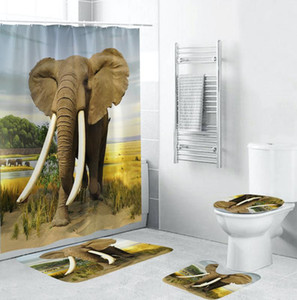 Wholesale animal print seat covers resale online - Toilet Seat Cover Bath Mat Shower Set Animal Elephant Printing Toilet Pad Cover Bath Mat Shower Curtain Set For Bathroom Decor