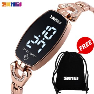 Wholesale watch slimming resale online - SKMEI LED Touch Women Watches Fashion Diamond Slim Digital Women Wristwatches Stainless Steel Strap Waterproof reloj mujer