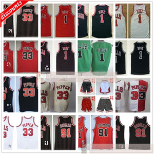 calções de basquete jersey preto venda por atacado-Basquete Retro Scottie Dennis Pippen Rodman Jerseys Derrick Black Rose Jerseys Black Red Stripe Shorts Branco