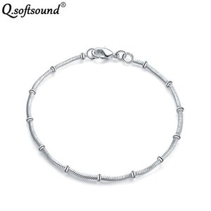 Wholesale silver bamboo bracelets resale online - Unique Bamboo Joint Bracelets Bangles New Silver Color Bracelet Couple Fashion Jewelry Gifts For Women Pulseira Feminina QB564