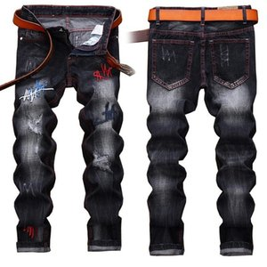 Wholesale light tear resale online - Mens Jeans High Quality Denim Trousers Men Straight Black Embroidery Jeans fashion Designer Casual Jeans Denim Men Tear Hip Hop