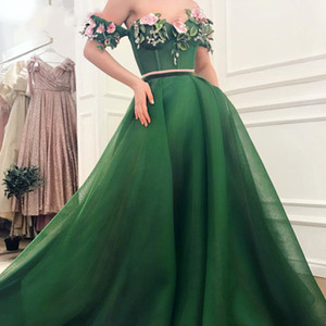 Wholesale emerald ruched dress resale online - Off the Shoulder Prom Dresses Sweetheart Handmade Flowers A Line Emerald Green ruched Evening Dress Dubai Arabic Party Gowns
