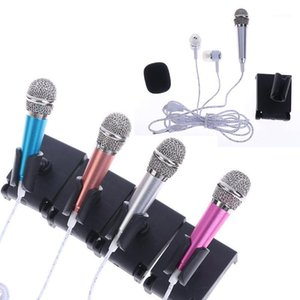 Wholesale mic stands resale online - 3 mm Stereo Studio Mic KTV Karaoke Mini Microphone With Earphones Stand Mount Portable Phone Laptop Small Size Mic1