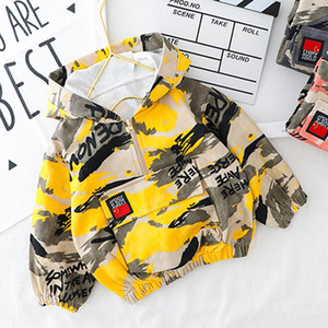Wholesale baby boy camouflage clothes resale online - Kid Boy Clothes Camouflage Baby Suit Hooded Camo Top Pants Sport Children Kids Outwear Baby Gifts Newborn Boys Green CY200515