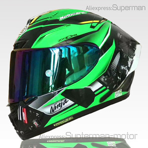 ingrosso caschi a motocicletta verde a tutto tondo-Full Face Shooli X14 Kawasa Kki Green Motorcycle Casmet Anti Fog Visor uomo equitazione Car MotoCross Racing Moto Casco Not originale Casco