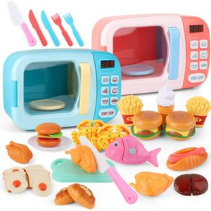 Wholesale toy microwaves resale online - Kid s Kitchen Toys Simulation Microwave Oven Educational Toys Mini Kitchen Food Pretend Play Cutting Role Playing Girls Toys LJ201009