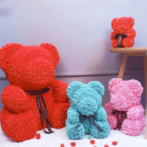 Wholesale teddy bears resale online - Fast Delivery PE Plastic Artificial Flowers Rose Bear Foam Rose Flower Teddy Bear Valentines Day Gift Birthday Party Spring Decoration