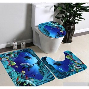 Wholesale high quality bath rugs resale online - Set Bathroom Non Slip Blue Ocean Style Pedestal Rug Lid Toilet Cover Bath Mat Happy Gifts High Quality Material Gdkaa