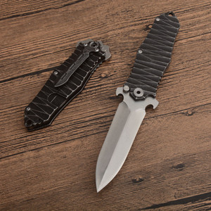 Wholesale stone edging resale online - High Quality Outdoor Survival Tactical Folding Knife C Single Edge Spear Pint Satin Blade Black Stone Wash Stainless Steel Handle