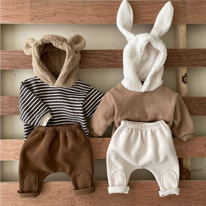 Wholesale baby clothes bear suit resale online - 2021 New Spring Infant Children s Piece Set Baby Girls Boys Rabbit Bear Cartoon Hoodies and Pant Outfits Suit for Newborn Kids Clothing q