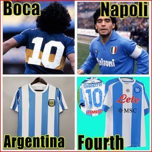 Retro 1986 Argentina Diego Maradona Soccer Jersey 1978 Boca juniors 1981 Vintage NAPOLI fourth 4th 1987 1988 football shirt Kit Classic tops