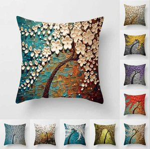 Wholesale sofa paintings trees resale online - Case Oil Painting Trees Pillow Covers Peach Skin Pillowcase Sofa Cushion Cover Size About cm Designs BT543