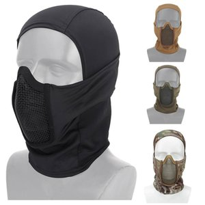metall mesh halbgesichtsmaske großhandel-Outdoor Airsoft Shooting Face Protection Gear Metall Stahl Draht Mesh Halbgesicht Taktische Airsoft Maske Hauben NO03