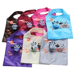 Wholesale foldable cute eco bag resale online - Friendly Eco Cute Ladies Animal Owl Shape Gift Foldable Reusable Tote Portable Travel Folding Bag