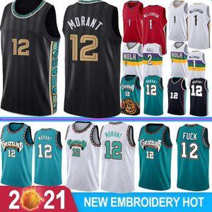 Ja 12 Morant Men Basketball Jerseys Zion 1 Williamson Lonzo 2 Ball S-XXL Hot Sale College Hot Jersey 2021 Basketball Wear