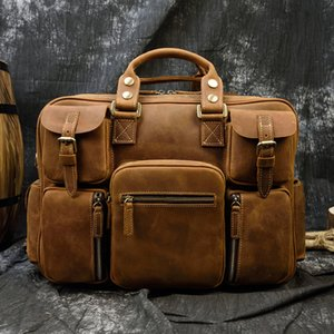 ofertas de portátiles al por mayor-Maheu Fashion Natural Male Cuero Directorios con Strap Strap Mobile Laptop New Bag Oferta