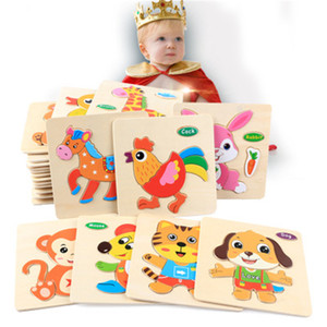 Wholesale wooden toys resale online - 24 stylesToddler toy Kids cute Animal Wooden Puzzles cm Baby Infants colorful Wood jigsaw intelligence toys animals vehicles for T
