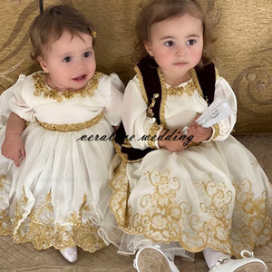 Wholesale jacket long train wedding dress resale online - Kosovo and Albanian Traditional Flower Girl Dress With Jacket Long Sleeves Gold Appliques Girl Wedding Party Dress Prom Wear