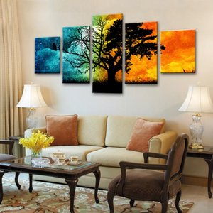 Wholesale paintings canvas abstract trees for sale - Group buy Canvas Painting Poster Color Art Day and Night Tree Decorative Picture Modern Wall Art Living Room Wall Painting Home Decoration