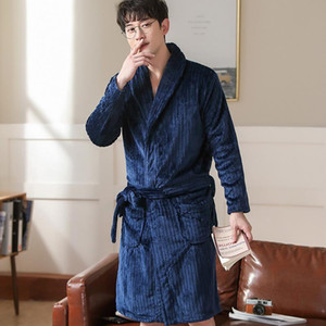 Men Home Clothes Nightgown Winter Warm Flannel Kimono Gown Casual Sleepwear Plus Size 3XL Print Nightwear Home Dressing Robe