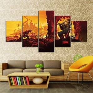 Wholesale painting games resale online - DOOM Eternal Picture Oil Painting Wall Art DOOM Game Poster HD Wall Picture for Living Room Decor1