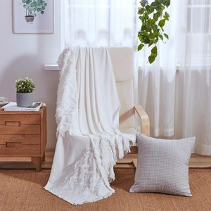 Wholesale pink white bedspread for sale - Group buy PHF Cotton Bed Throw Blanket Jacquard With Tassel Knitted Blanket White Blue Pink Decor Sofa Shawl For Home Nordic Bedspread