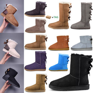 Wholesale snow boots resale online - 2020 Designer women australia australian boots women winter snow fur furry satin boot ankle booties fur leather Bowtie outdoors shoes