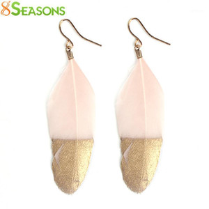 Wholesale gauge sizes for sale - Group buy 8SEASONS Trendy Drop Earrings Natural Feather Drop Earrings Painting About mmx mm Post Wire Size gauge Pair1
