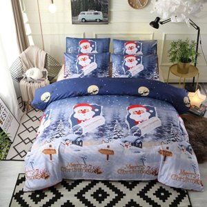 Wholesale boys bedding quilts resale online - JUSTCHIC set Blue Merry Christmas Duvet Cover Set Snowflake Santa Claus Pillowcase Quilt Bedding Set Boy Bed Decor Gift