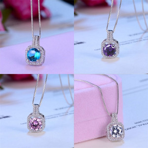 Wholesale round cut necklace resale online - Fashion Simple Jewelry Sterling Silver Round Cut A Cubic Zirconia CZ Party clavicle Chain Diamond Women Cute Necklace Penda L2