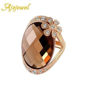 Wholesale big crystal flower ring for sale - Group buy Ajojewel Rhinestone Flower Design Big Crystal Stone Ring Women Fashion Costume Jewelry Accessories1