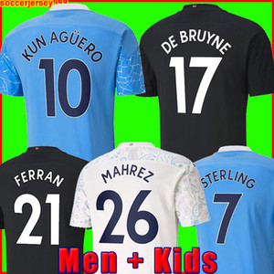 ingrosso aguero football-2020 Manchester Soccer Jersey G Gesù City Sterling Ferran de Bruyne Kun Aguero Camicie di calcio Man Uniform Men Kid Kit