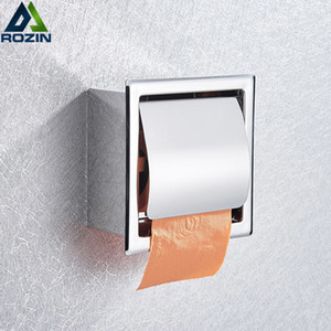 Wholesale install chrome resale online - Chrome Stainless Steel Concealed Install Toilet Paper Holder Inside Wall Mounted Bathroom Roll Tissue Paper Rack T200425