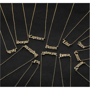 Wholesale coin jewelry resale online - Personalized Letter Zodiac Necklace Constellation Necklaces Custom Stainless Steel Old English Necklace Birthday Jewelry Gifts Ycufb
