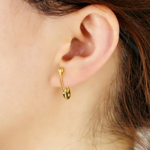 Wholesale dainty stud earrings for sale - Group buy 2020 minimal delicate cute safety pin stud paperclip polished no stone fashion dainty girl women stud earring jewelry