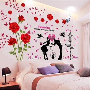 Wholesale wall stickers flowers resale online - Romantic Valentine s Day Gift DIY Rose Flowers Wall Stickers for Living Room Wedding Decoration Self Adhesive Posters