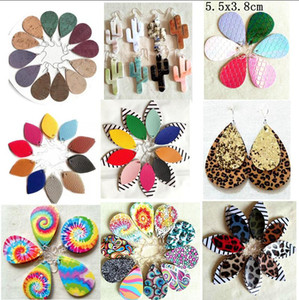 Wholesale leather earrings resale online - New Style PU leather glitter sparkly Oval Earrings Fashion Dangle Earrings for Women