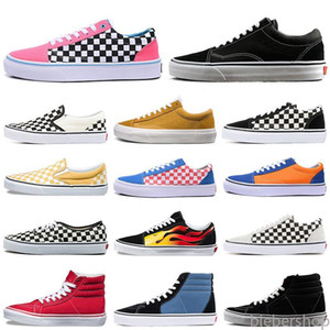 club schuhe großhandel-Designer Schuhe Alte Skoule Angst vor Gott Männer Frauen Leinwand Turnschuhe Triple Black White Yacht Club Checkerboard Müßiggänger Casual BB