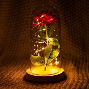Wholesale beauty beast rose glass for sale - Group buy Romantic Eternal Rose Flower Glass Cover Beauty and Beast LED Battery Lamp Birthday Valentine s Day Mother Gift Home Decoration T200903