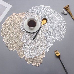 Wholesale coffee table decor resale online - Placemat Dining Table Coasters Leaf Simulation Plant PVC Coffee Cup Table Mats Hollow Kitchen Christmas Home Decor Gifts GWE3932