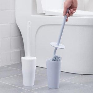 Wholesale toilet brush handle resale online - Long Handle Toilet Brush Holder Set Bathroom Lavatory Plastic Cleaning Brushes Set for Household Bedroom Ornament