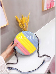 Wholesale leather pur for sale - Group buy Designer Handbag Rainbow stitching Wristlet Round Cakes Banquet Totes Shoulder Bags Genuine Leather Women Clutch Messenger Bag Crossbody Pur