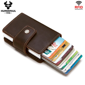 Wholesale leather walet resale online - 2020 Rfid Men Leather Credit Card Holders Business ID Card Case Male Coin Purse Fashion Automatic Blocking Aluminium Card Walet