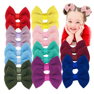 Wholesale kernel corn resale online - 24 Colors Kids Bowknot Barrettes Mini Candy Color Corn Kernels Fabric Bow Hairpin Girl Hair Clip Baby Cute Headdress Hair Accessories M3100